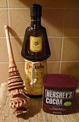 Frangelico bottle, Cocoa box, and Mexican chocolate whipper