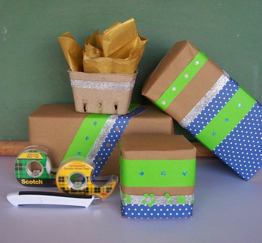 An assortment of fun, decorated packages and the necesary tools.