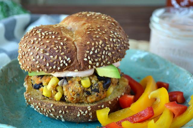 Sweet Potato Burgers with Sriracha Yogurt Sauce recipe