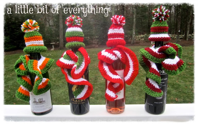 crocheted bottle hats and scarves