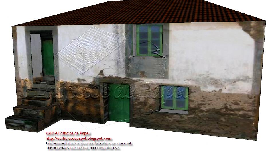 Fachada principal de la maqueta de la casa de campo