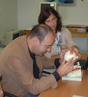 fotografia de dois técnicos da Fundação a explorar o modelo do olho humano