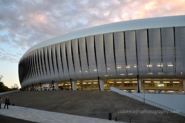 Cluj Arena Stadium-North side view at dusk