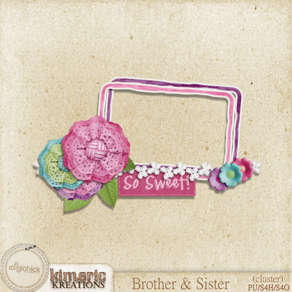 "Free scrapbook ""Brother and Sister cluster 3"" from Kimeric Creations"
