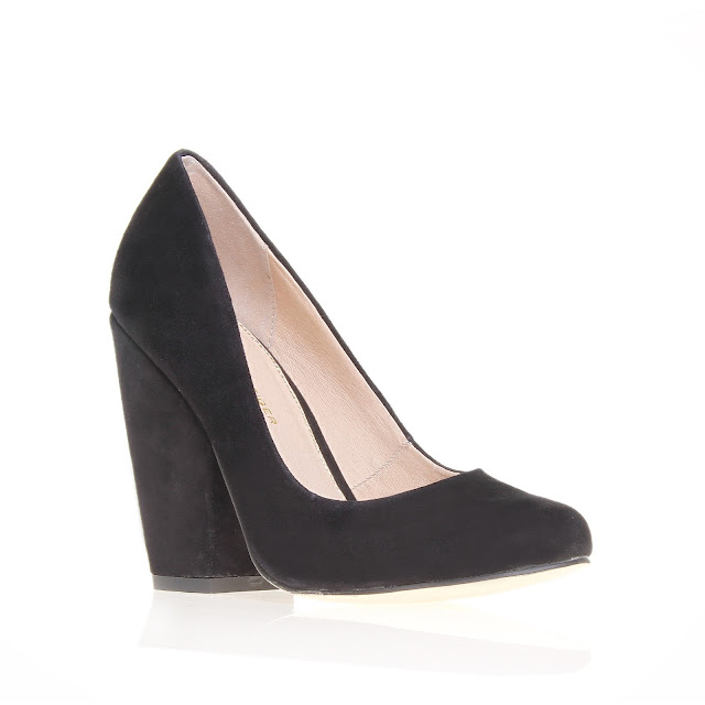 Kurt Geiger black suede chunky heel court shoes