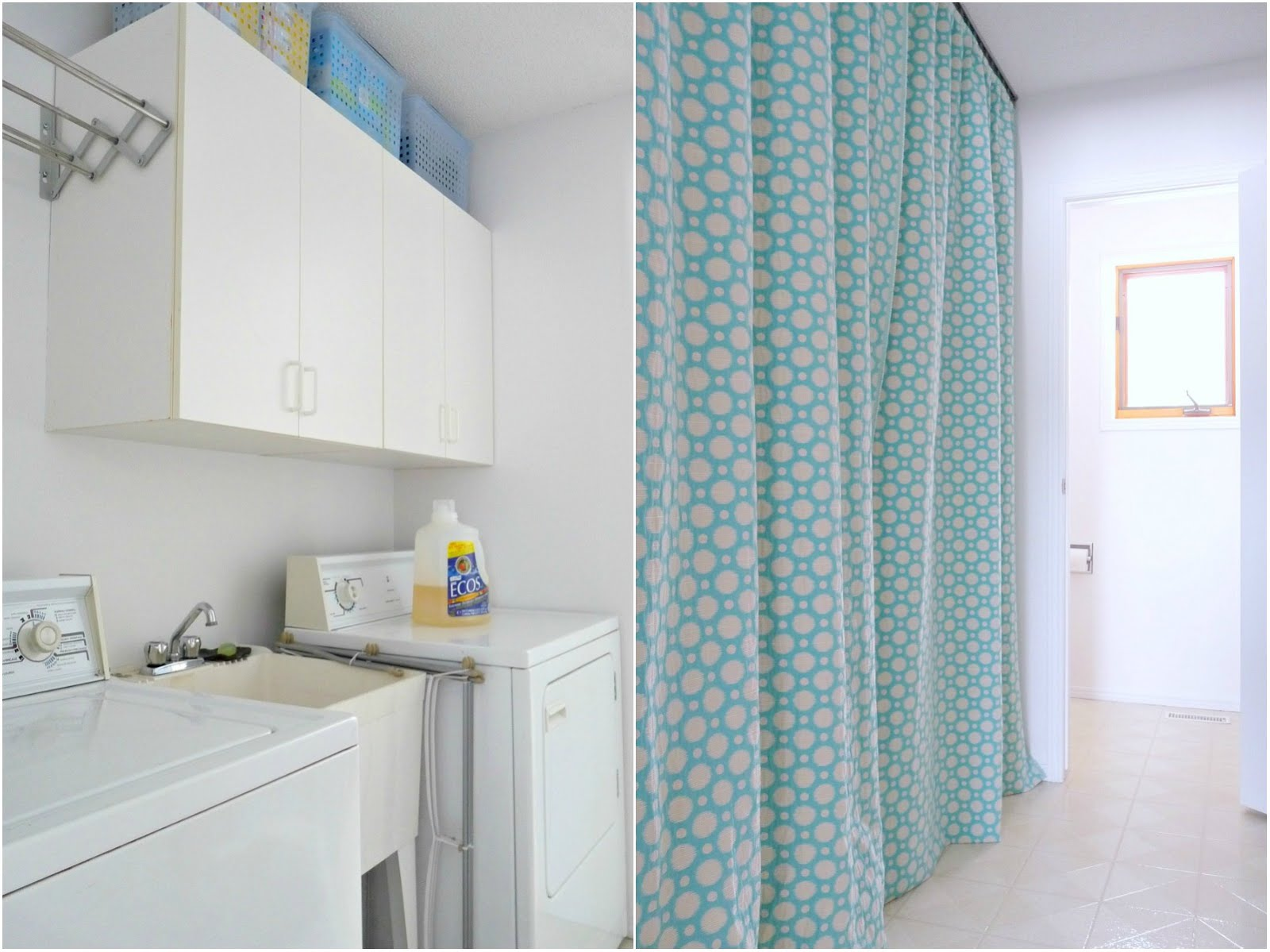 Hide a Washer + Dryer with DIY Gathered Curtains