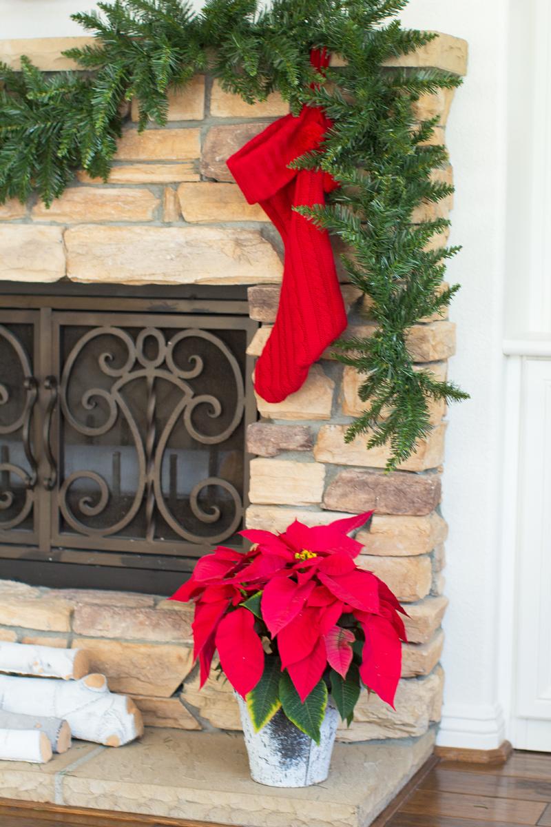 camdon fir garland, holiday fireplace
