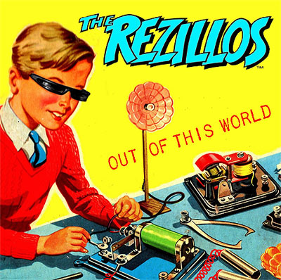 The Rezillos: Out of this world; Record cover from a 1950s style D.I.Y. Electronics for Children booklet, with a young boy in jumper and tie, with black wrap-around shade working on an electronics project.