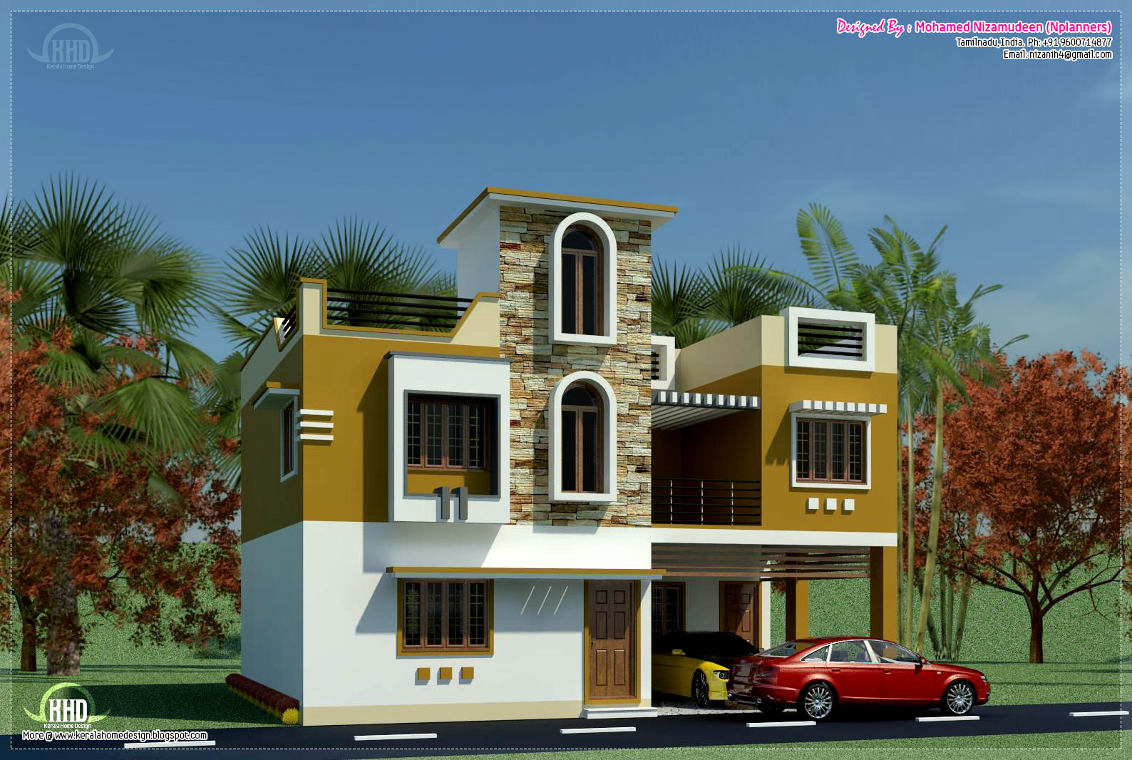 New home design south indian minimalist 1600 sq ft for Exterior house designs indian style