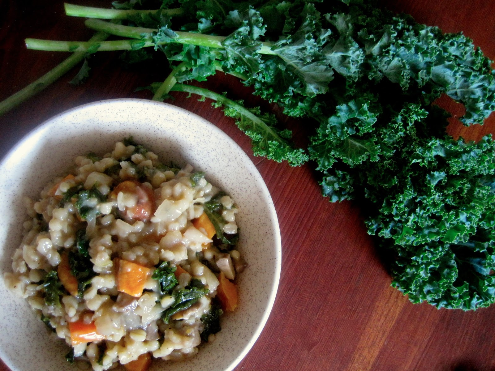 ... ...on a budget: Barley Risotto with Mushrooms, Sweet Potato, and Kale