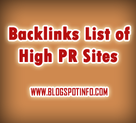 BACKLINKS List of High PR sites that accept Backlinks