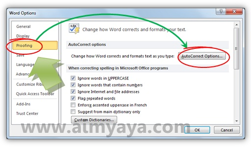 Gambar: mengakses Autocorrect options