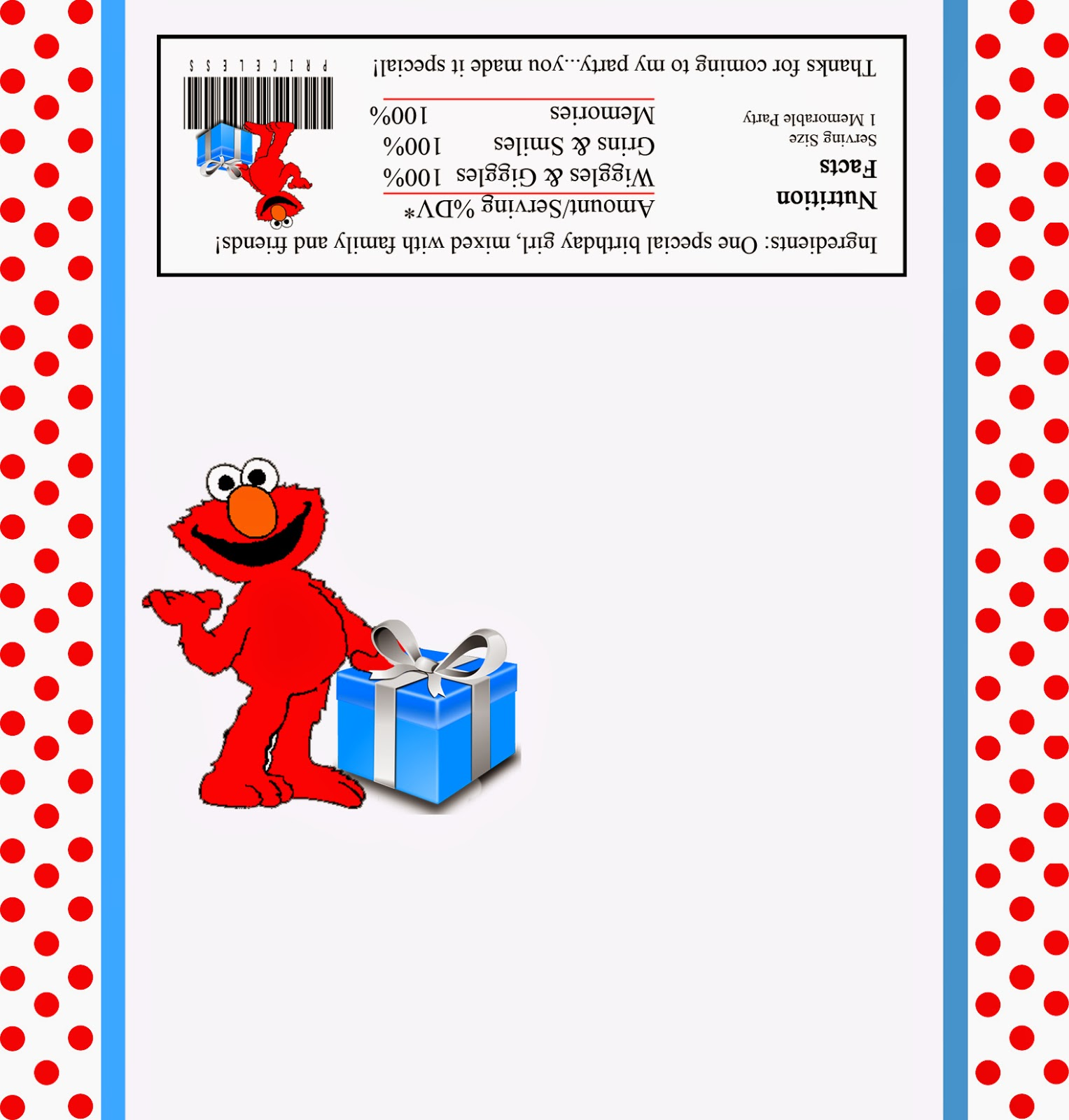 Etiqueta para Chocolates para Fiestas de Elmo, para Imprimir Gratis.