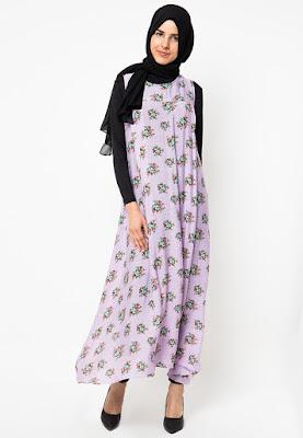Model Gamis Sifon Hijabers Motif Bunga Terbaru 2016