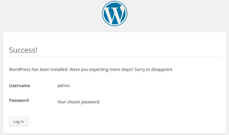 instal wordpress step 5 -finish