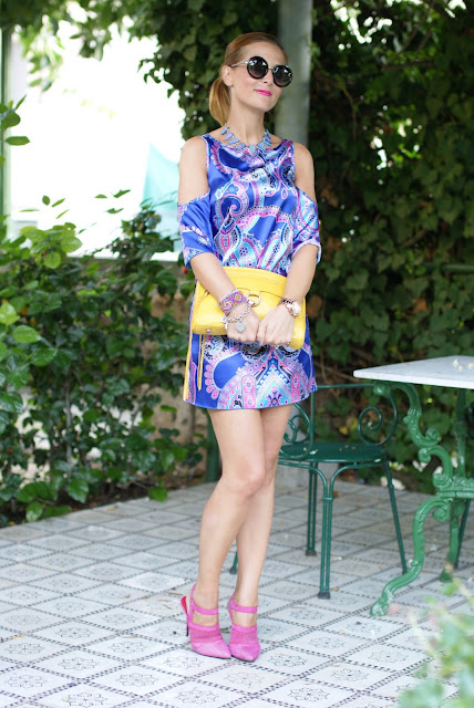 satin mini dress, Rebecca Minkoff yellow bag, Cesare Paciotti shoes, Fashion and Cookies, fashion blogger