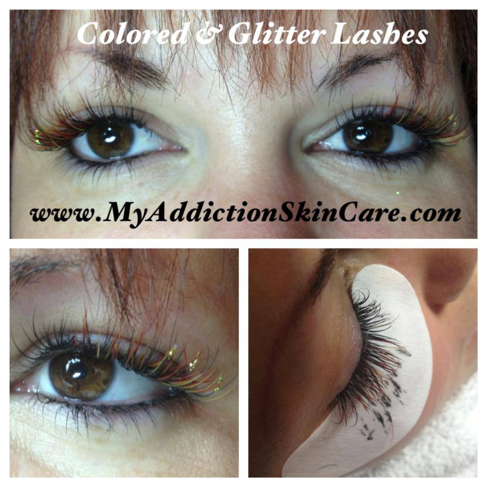 My Addiction Makeup: Color and Glitter Eyelash Extensions