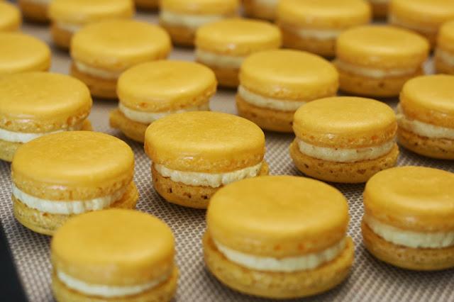 Saffron and Cardamom buttercream sandwiched between macaron shells