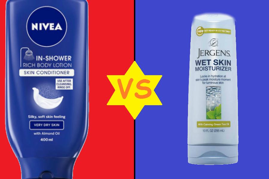 sound off nivea inshower lotion vs jergens wet skin moisturizer