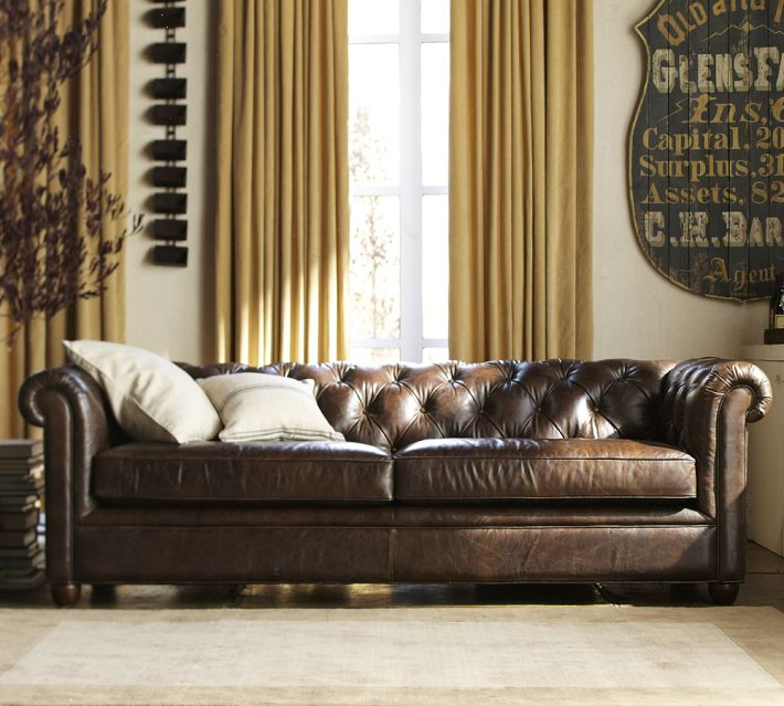 A Brown Leather Sofa, Like The One Pictured Below, Can Work In Many Decors.  The Flaws And Age Spots Of Aged Leather Upholstery Give A Bit Of Rustic  Style To ...