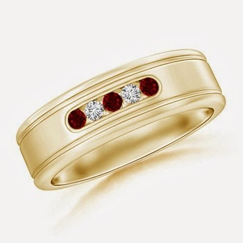 Ruby and Diamond Grooved Mens Wedding Band