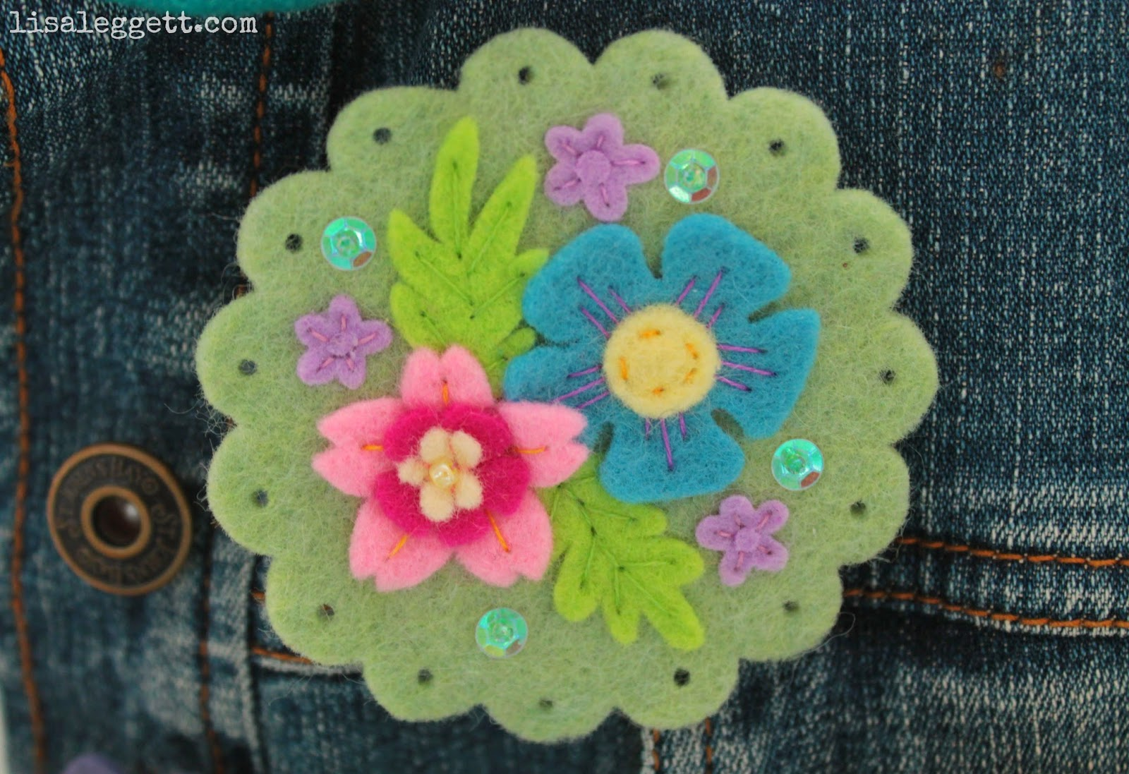 Green Spring Felt Broach by Lisa Leggett