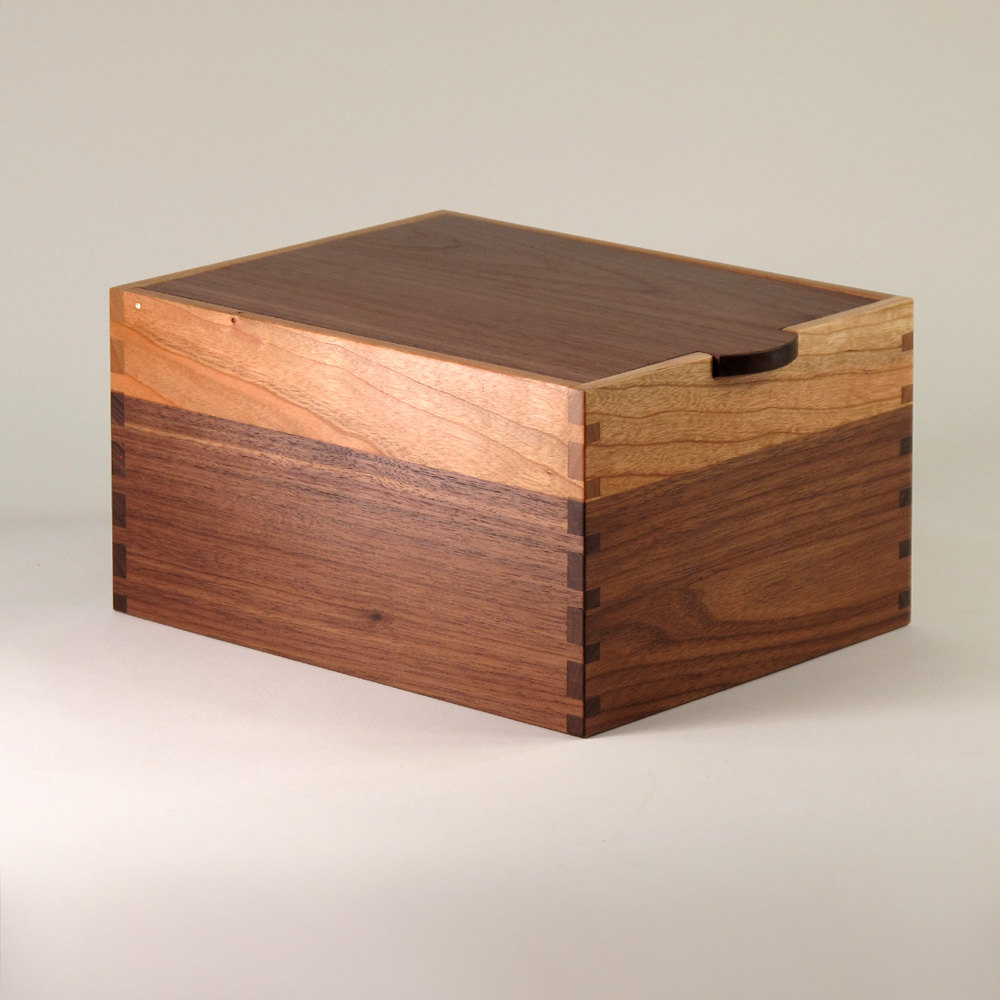 Handcrafted wood jewelry boxes - Handmade Wooden Jewelry Box Using Contrasting Panels Of American Black Walnut And American Cherry A Handcrafted Wooden Container Handy For Use As A Small