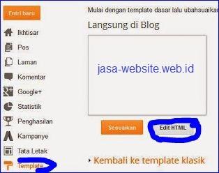 edit html untuk memasukan kode kata kunci blog