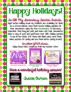 Free Downloads for the Holidays! Grades 7-12  www.traceeorman.com