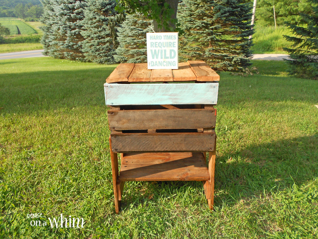 Upcycled Crate Table with Hinged Top from Denise on a Whim
