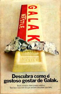 propaganda chocolate Galak - 1970. Anúncio chocolate Galak - 1970