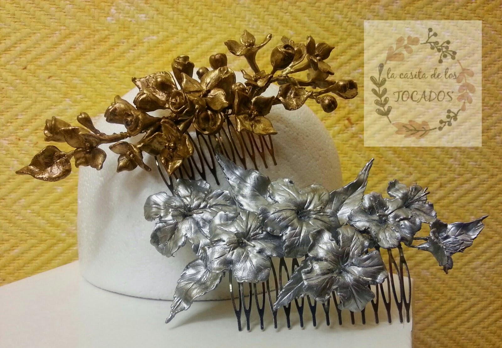 peinetas artesanales en dorado envejecido y plata