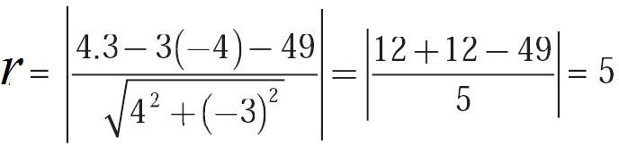 Jarak dari pusat T (3,–4) ke garis 4x – 3y – 49 = 0 adalah jari