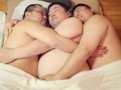 Latin gay three some with facial