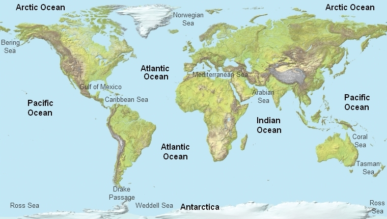 What are the three oceans that border the continent north america