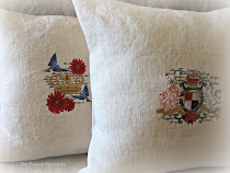 Laundered burlap and embroidery