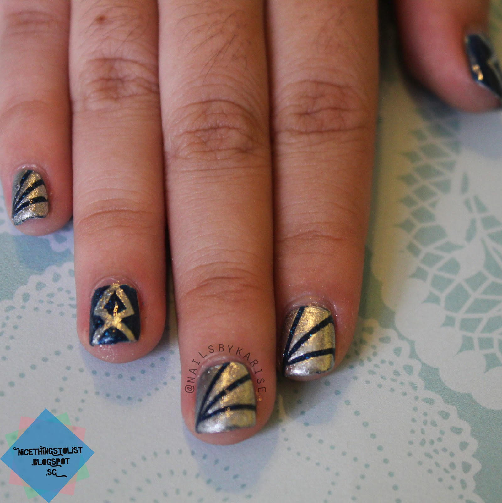 Silver Blue Starburst And White Gold Geometric Stud Prom Nails For