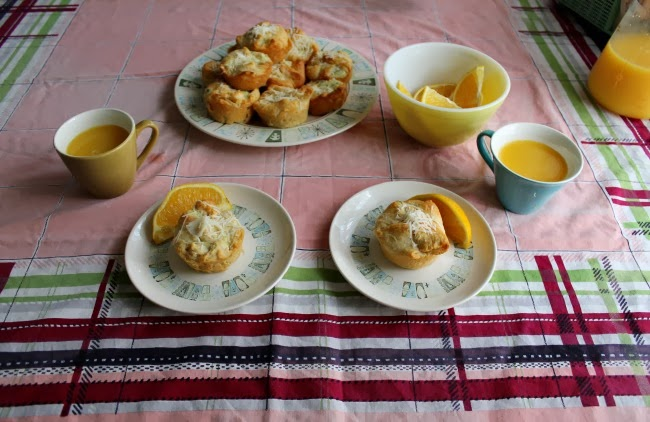 pyrex and vintage cathay  dishes on a 1940s tablecloth spinach and artichoke brunch souffle