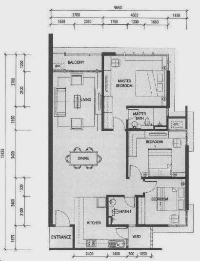 Floor plan feng shui one medini residence for Feng shui floor plan