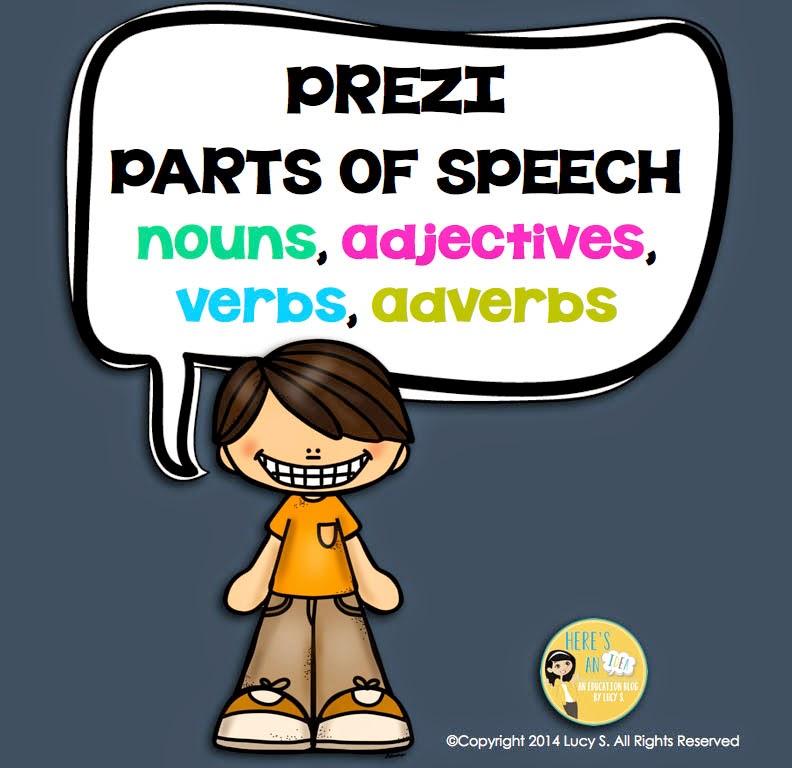 Parts of Speech Prezi: nouns, adjectives, verbs, adverbs
