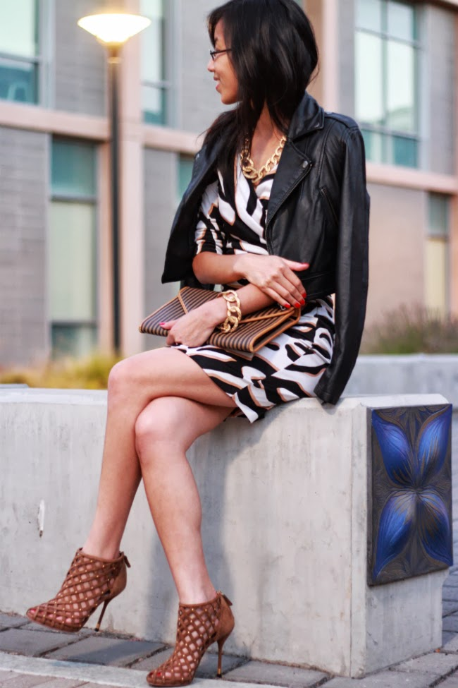 leather jacket and dress outfit ideas