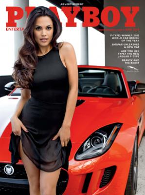 La californiana Raquel Pomplun (Playmate Playoboy dell'Anno 2012), con la nuova Jaguar F-Type