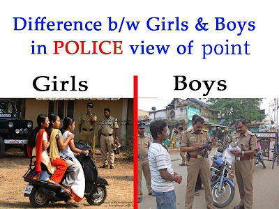 boys vs girls difference funny with police