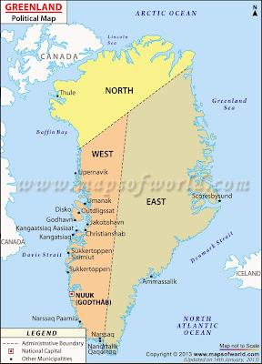 Greenland political map