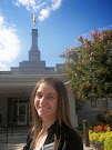 Abby in front of the Fresno Temple
