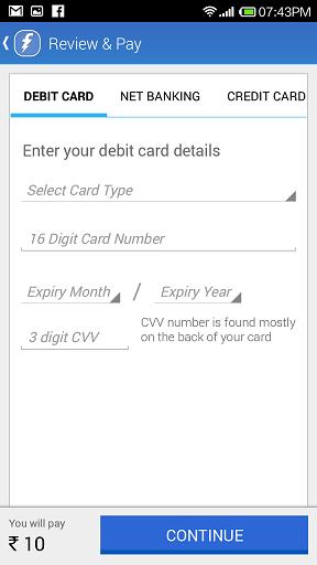 make payment using debit/credit card