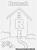Belajar Mewarnai Huruf Abjad R Rumah
