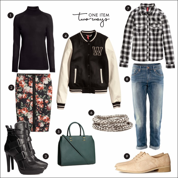 baseball jacket, scuba skirt, pencil skirt, boyfriend jeans, platform booties, h&m, what to wear weekend, fashion, style