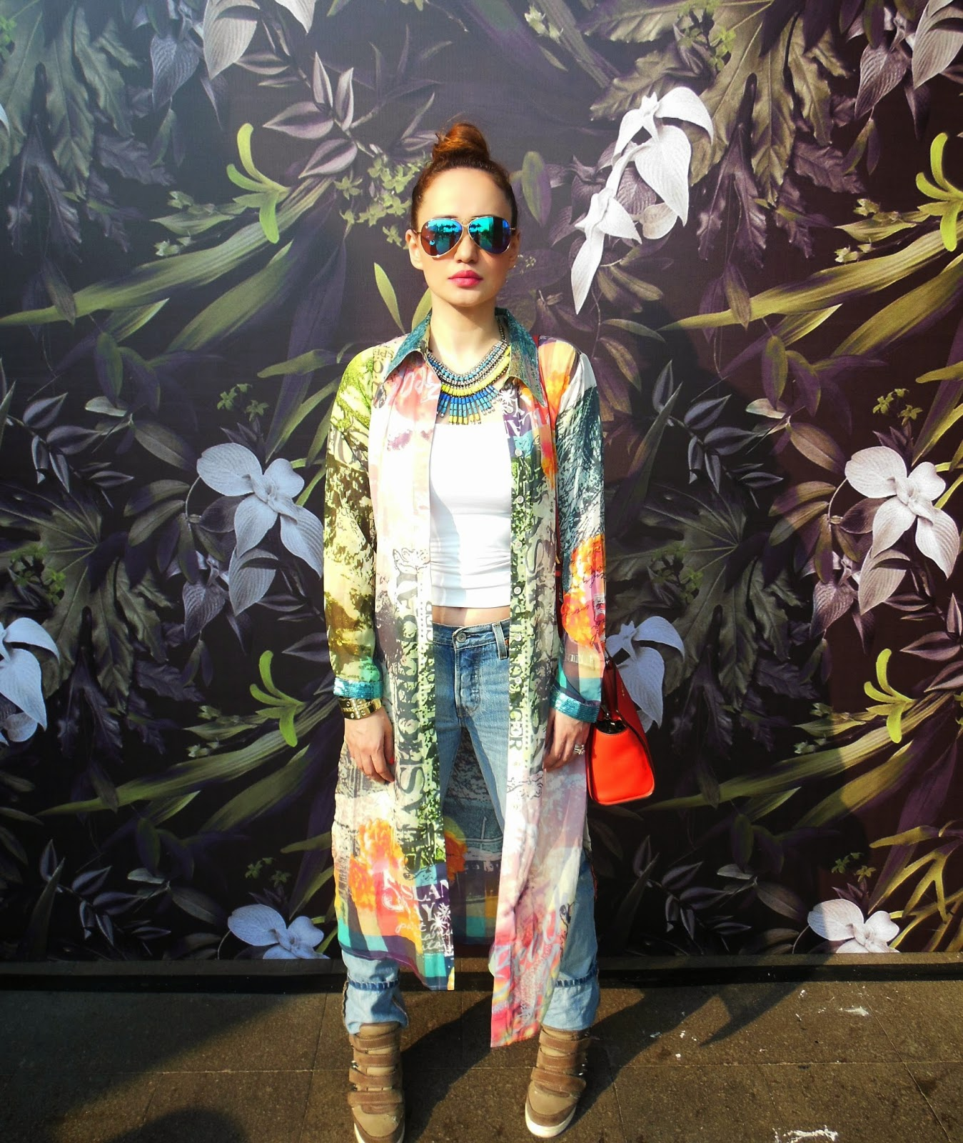 Printed Cape, Levis 501 CT Boyfriend Jeans at LFW