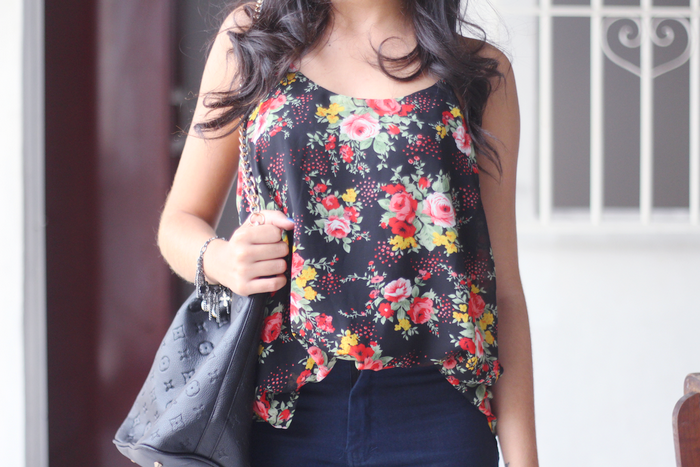 look, ootd, outfit, floral, bolsa, couro, óculos, clubmaster, glasses, flores, estampa